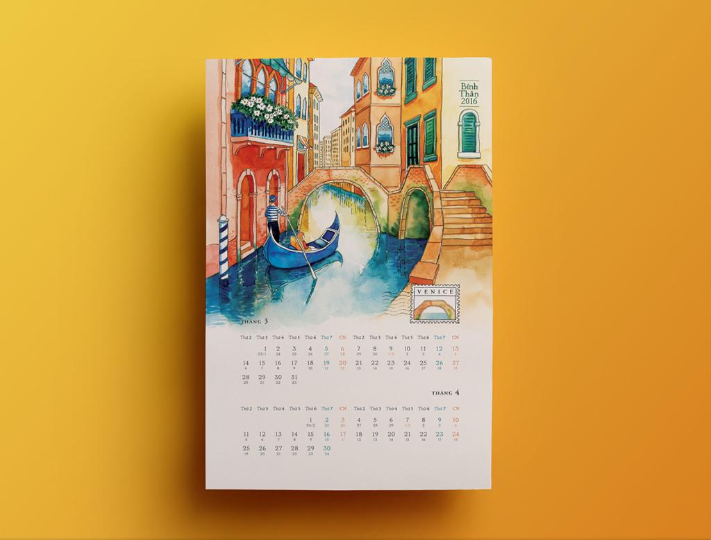 настенный календарь акварельные иллюстрации